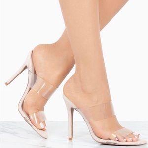 Cute clear strap nude heels!!